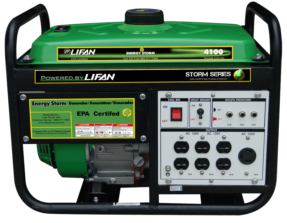 energy storm lifan power usa lifan power usa s energy storm es4100 is part of our energy storm portable generator line the unit is epa approved this quality generator is a perfect fit