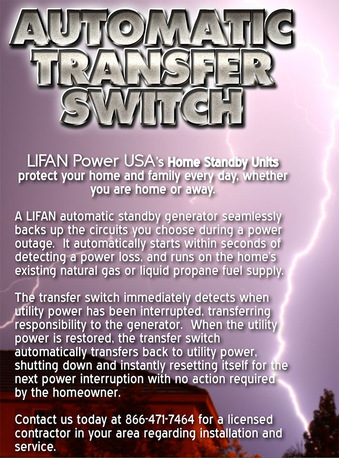 home standby lifan power usa home standby units